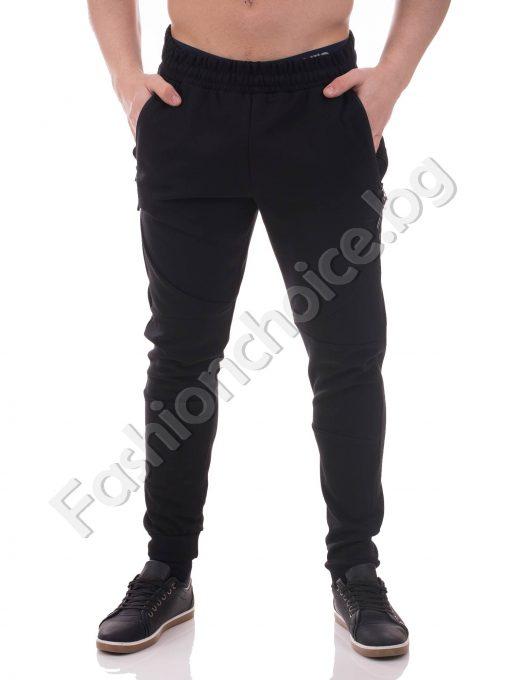 Практично черно мъжко долнище, спортен модел