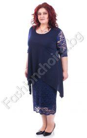 Елегантна дантелена макси рокля с едноцветна горна част /4XL-5XL/