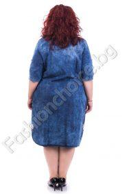Дънкова макси рокля с прекрасна дантела и джобче