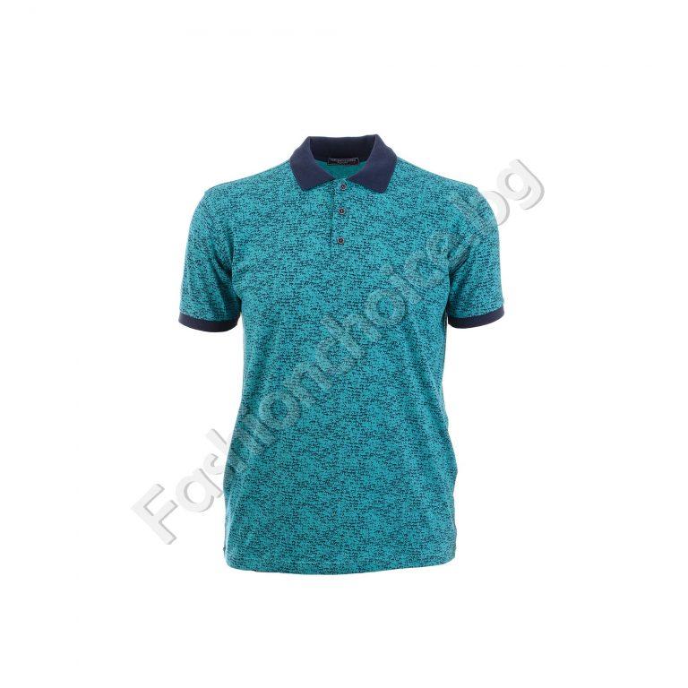 Мъжка макси блуза с копче и яка в свежи летни цветове