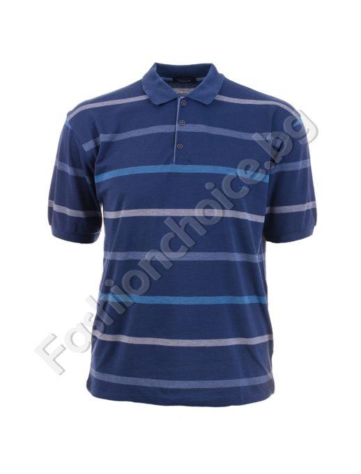 Стилна мъжка макси блуза на райе в черно и синьо