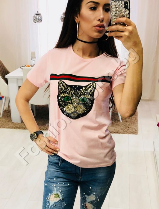 Дамска блузка с блестящо коте от пайети в три цвята