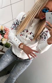 Кокетна дамска ризка в красив десен на цветчета