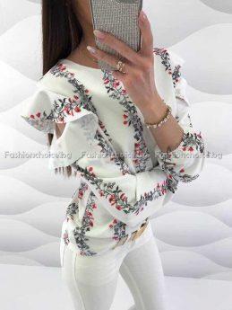 Стилна дамска риза с феерично ръкавче
