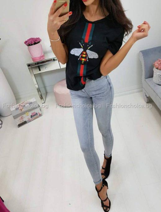 Модерна дамска блуза с пчела
