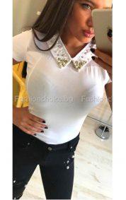 Изискана дамска блузка с якичка и тюл