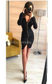 Къса черна дамска рокля с цип и цепка