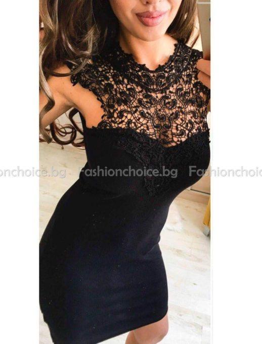 Ефектна дамска рокля с брюкселска дантела