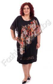 Великолепна макси рокля с ефирен цветен шифон