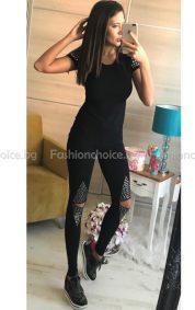 Черно дамско екипче с капси - клин и блузка