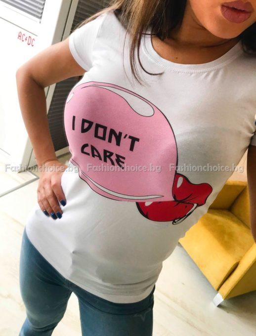 Сладка дамска блузка с надпис I DON'T CARE от Фешън чойст