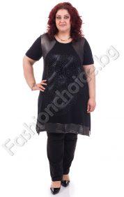 Шикозна дамска макси туника в черно