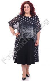 Интелигентна макси рокля от прекрасен цветен шифон на точки