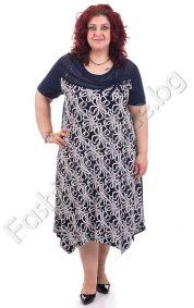 Уникална макси рокля на цветя с тюл и бродерия
