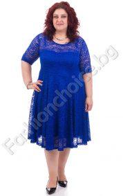 Изискана дантелена макси рокля с къс ръкав в 4 цвята