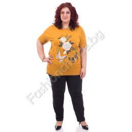 Дамска макси блуза със слънчева декорация в пет нюанса