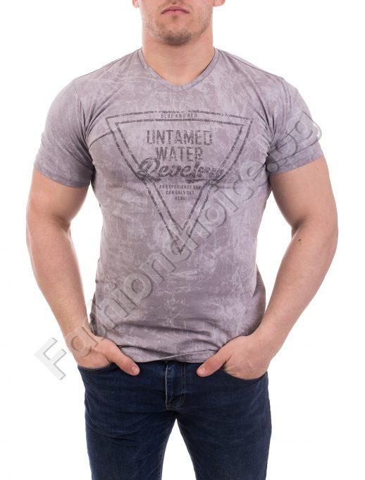Мъжка тениска от щампирана памук-ликра в пет цвята