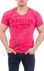 Мъжка тениска с къс ръкав и щампа в пет цвята от варен памук