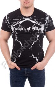 Мъжка тениска в черно с интересна щампа на светкавици/М-3ХЛ/