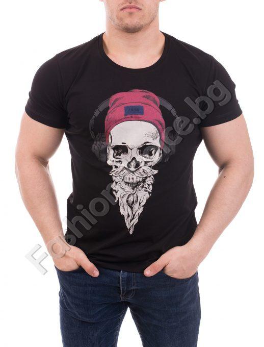 Мъжка тениска в бяло и черно с актуална качествена щампа /М-3ХЛ/