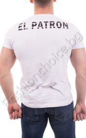 Мъжка тениска в бяло и черно с интересна щампа /М-3ХЛ/