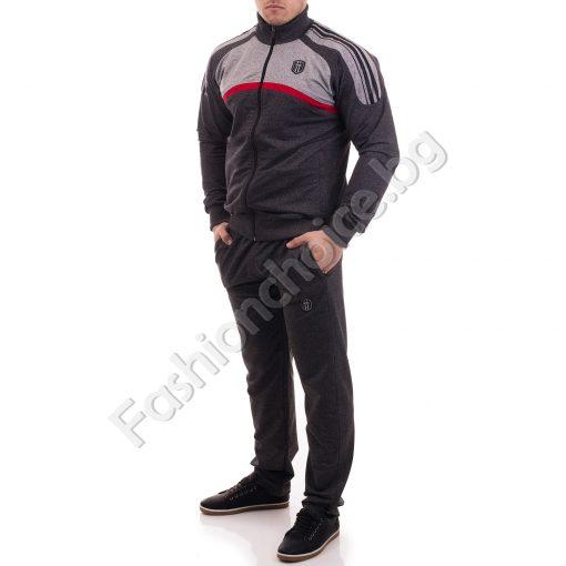 Мъжки спортен комплект в комбинация от тъмен и светъл меланж