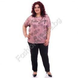 Модерна дамска блуза с надпис и перли в меланжирани нюанси