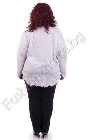 Бяла дамска макси риза с пришита нежна бродерия/3XL,4XL,5XL/