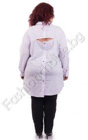 Бутикова дамска макси риза с асиметрична кройка