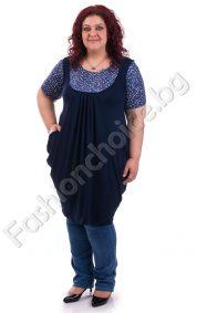 Туника-рокля тип балон за макси дами с горна част от прекрасен принт