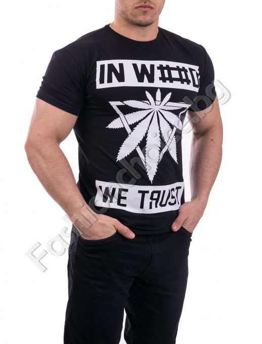 Мъжка спортна тениска със щампа в бяло и черно