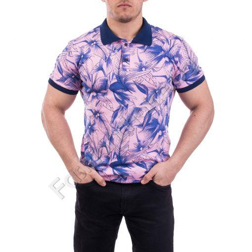 Мъжка тениска с якичка и копченца в актуални летни цветове