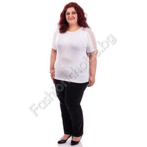 Кокетна дамска макси блузка с бели нежни перли на раменете