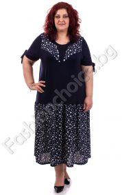 Уникална макси рокля в тъмносиньо на точки
