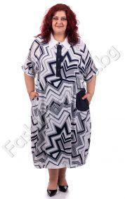 Стилна и елегантна макси рокля с абстрактни мотиви/4XL,5XL,6XL/