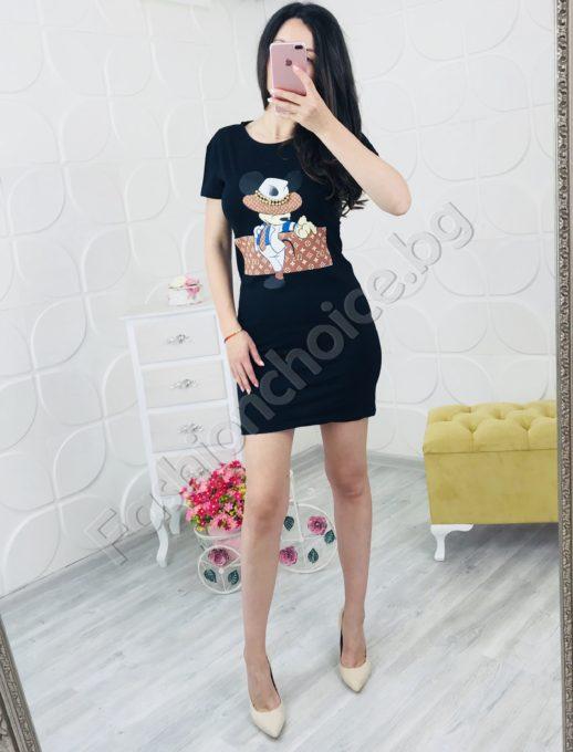 Къса черна рокличка с модна щампа
