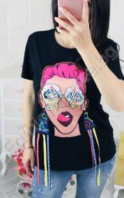 Модна дамска блузка с 3D декорация на момиче