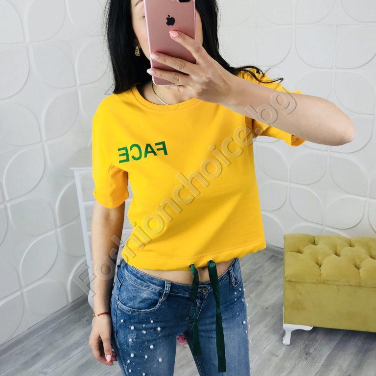 Къса актуална дамска блуза в три цвята