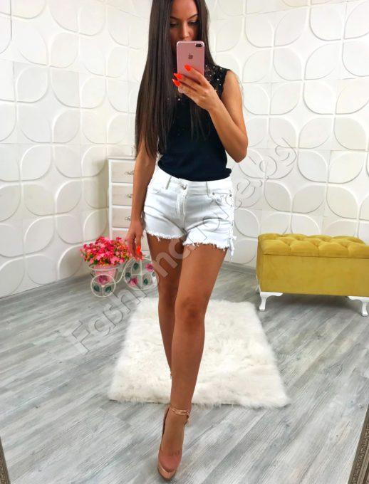 Къси дънкови бели панталонки с висока талия хит модел