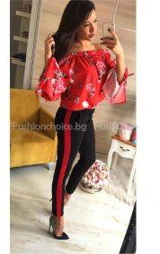 Шик модел дамска блуза с лодка деколте и панделки