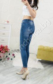 Дамски дънки с ефектни перлички и мрежичка
