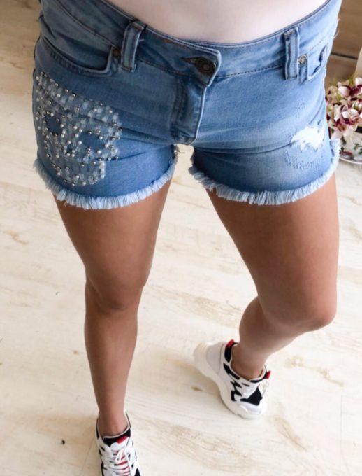 Модерни летни дънкови панталонки с перлички