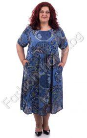 Красива и нежна макси рокля в актуален цветен принт