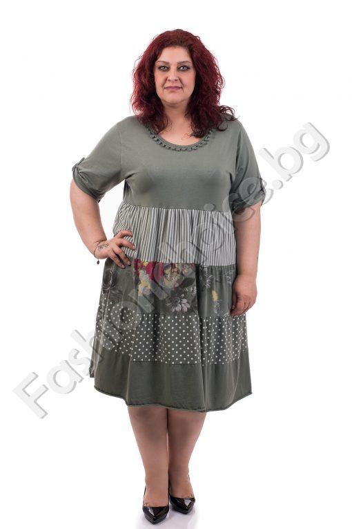 Памучна макси рокля с пъстър свеж принт