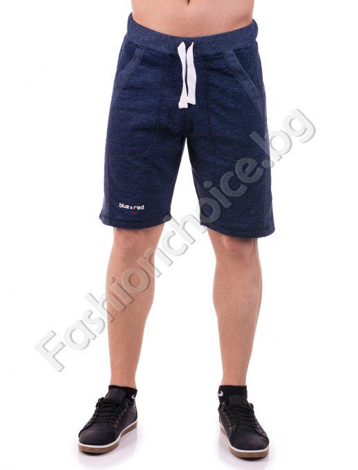 Мъжки 3/4 панталони от трико с джобчета и надпис Blue- Red