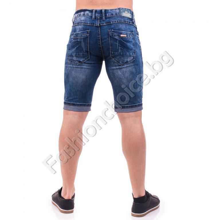 Тъмносини мъжки къси панталонки от деним