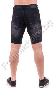 Черни дънкови мъжки панталони с надран ефект