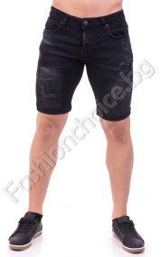 Къси мъжки панталонки в черен деним с модни акценти