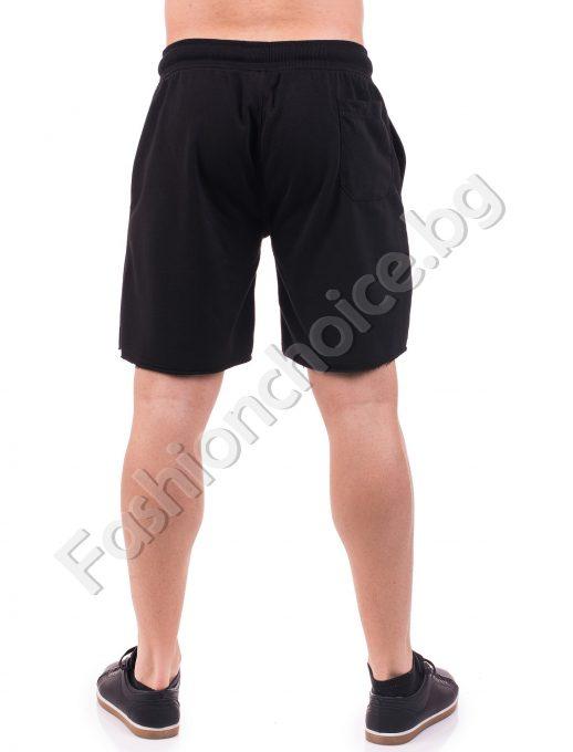 Мъжки 3/4 панталони в черно и тъмносиньо с надпис