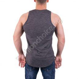 Мъжки памучен потник сив меланж с щампа